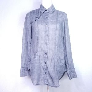 Free People Heathered Gray Button Down Tunic